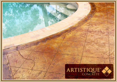 Acid Stained Concrete Pool Surround - Image 4